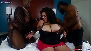 3:47: Huge tits Latina fucking on the couch