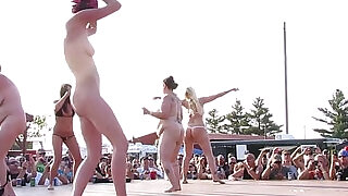 21:00: interesting amateur pole stripping contest at a iowa biker rally