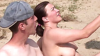 Real hot party amateur threesome on the beach at xxx sexy porn