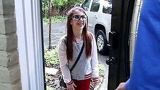 Tiny babysitter teen wearing glasses fucked very hard by huge cock at xxx sexy porn