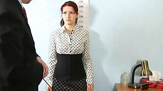 7:00: Shocking nude job interview for redhead babe