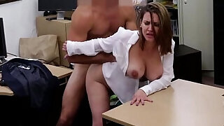 7:00: Curvy busty office babe in stockings gets cunt fucked POV