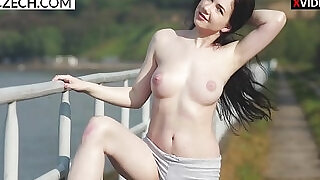 Czech girl showing off her pussy in public striptease relax video at xxx sexy porn