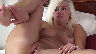 16:00: tanned blonde gaped and stretched by extreme dildo in her pussy is red swollen,and sore