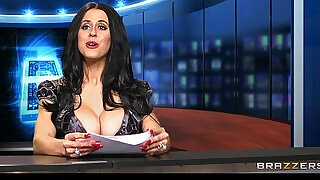 7:00: News anchor Louise Jensen is distracted at work by a huge black monster black cock