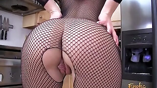 11:00: Blonde amateur MILF ripping off her full body fishnet stockings