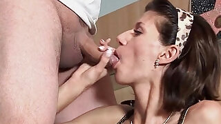 Cute face brunette with pierced pussy after swallowing cum - 11:00