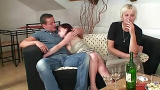 Hot orgy with granny and son in law - 6:00