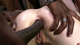 5:00: Hot girl with tits and gets her asshole fucked hard black in her perfect pussy