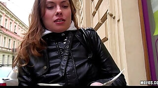 11:00: Curious Czech brunette is convinced to fuck for a wad of cash