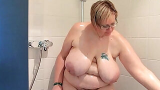 0:32: Hairy amatuer BBW with big naturals in shoer