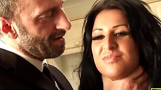 10:00: Chubby brit swallowing cum after rough fuck