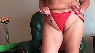 Chubby granny with saggy tits and plump ass spreads pussy - 5:00