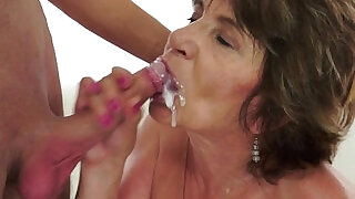 6:00: Cummy mouthed granny blow